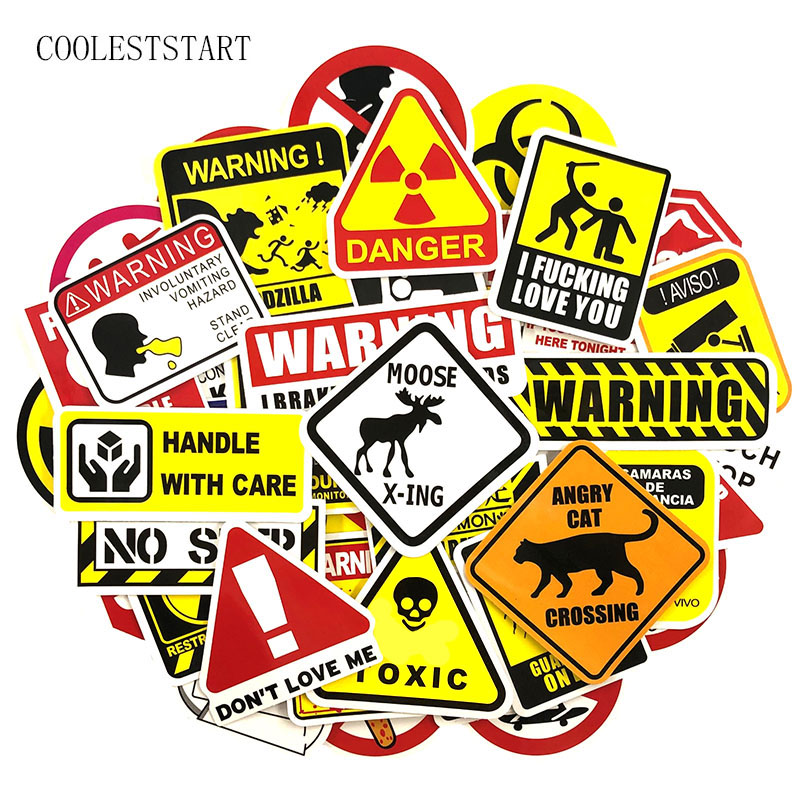 50 Pcs/set Interesting Warning Stickers Road Signs For Motorcycle Phone Luggage Bicycle Skateboards Laptop Refrigerator Stickers