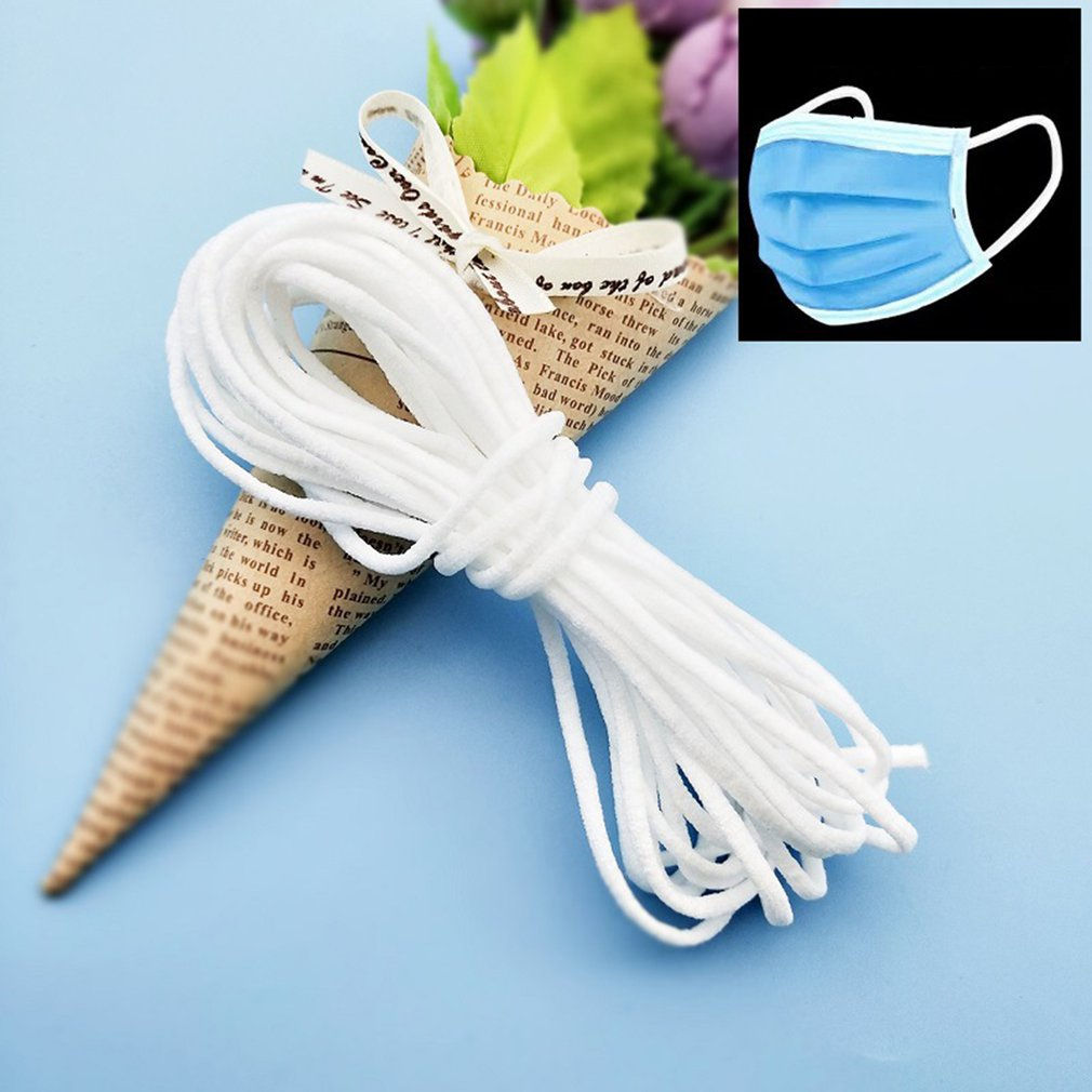 50yad 3mm Disposable Earloop Face Mouth Masks Rope Round Elastic Band Mask Elastic Cord Elastic Bands Line For Make Mouth Masks