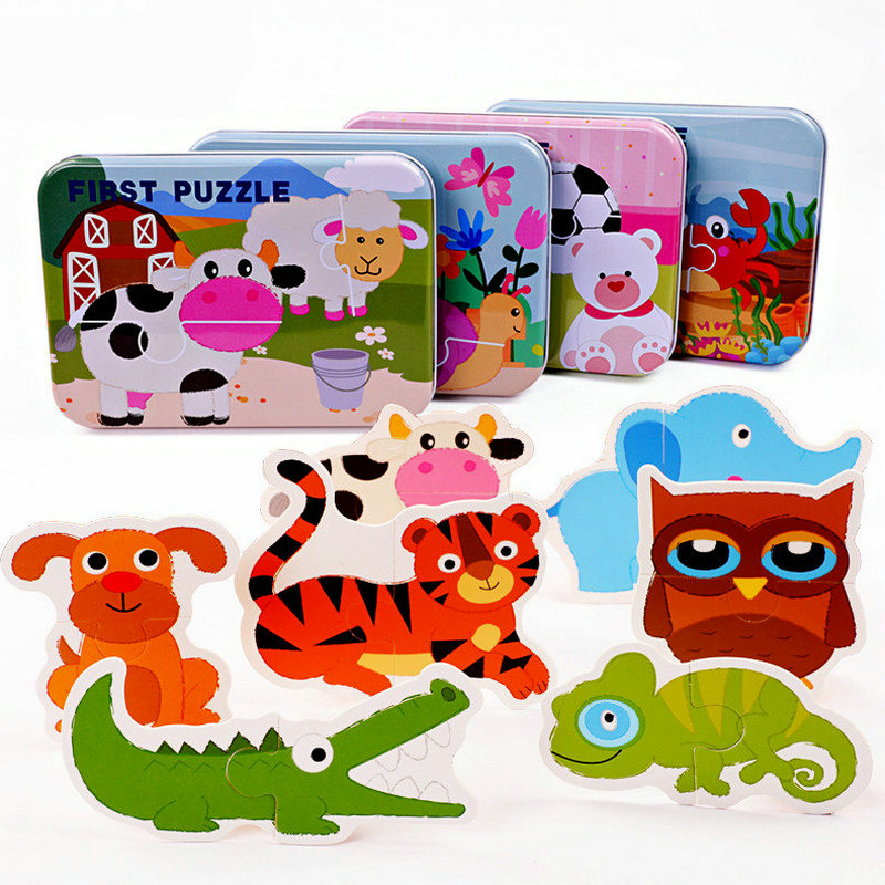 Iron boxed Paired Cognitive puzzle Large puzzle, Childrens wooden animal insect Jigsaw puzzles game, 123 years old toys