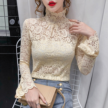 Girls Lace Turtleneck T-Shirts Tees Female Hollow Out Full Flare Sleeve Elegant Stretchy Bottoming Tshirt Top For Women Autumn