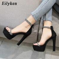 Eilyken 2020 été femmes plate-forme sandales Sexy PVC Transparent strass Super talons hauts bride à la cheville fermeture éclair chaussures de fête