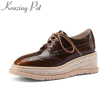 Krazing Pot 2021 new cow leather lace up platform high heels wedges casual spring shoes vintage office lady cozy women pumps L85