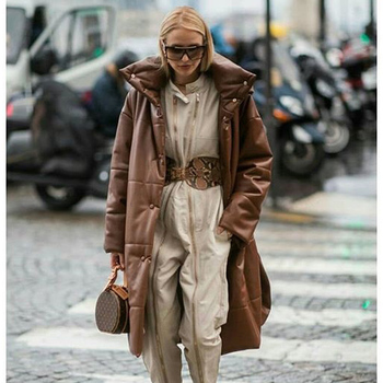 AGong-vestes en coton PU femme, longues et élégantes, parka kaki à la mode hiver HZ, décontracté 1
