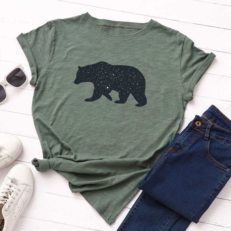 Women 100% Cotton Plus Size T-Shirt Top Graphic Tee Female Short Sleeve Tops Tees Animal Bear Print Funny Shirts Streetwear