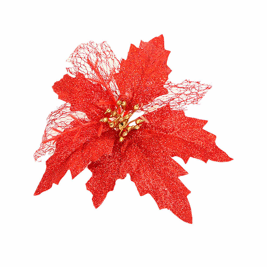 Creux or paillettes paillettes Simulation fleur de noël arbre de noël suspendus décorations décoration de noël pour la maison navidad
