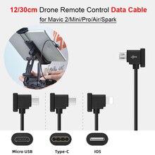 Câble de données OTG de 30cm pour DJI Mavic 2/Mini/Pro/Air/Spark, câble de connexion Micro USB type c IOS