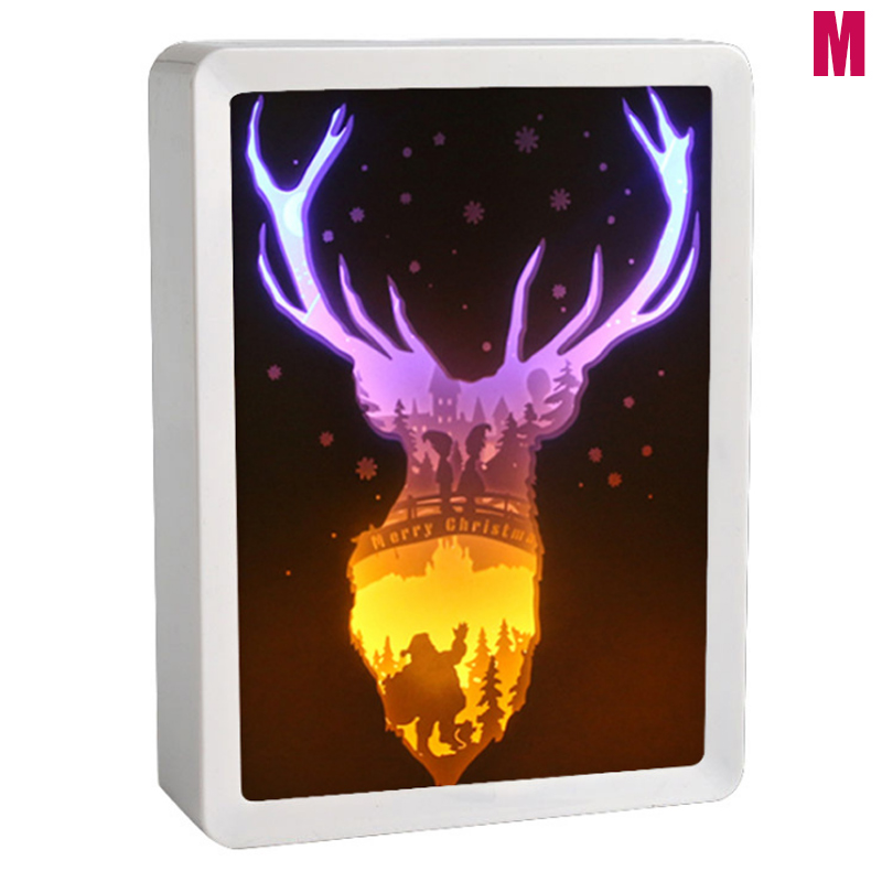 3D Night Lamp Paper Pattern Painting LED Table Shadow Box Frame Party Home Decor DNJ998