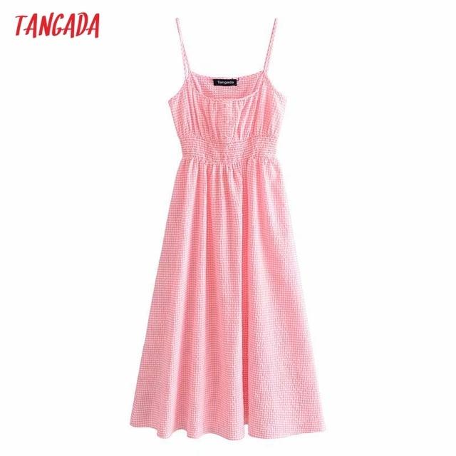 Tangada Women Pink Plaid Long Dress Strap Sleeveless 2021 Summer Fashion Lady Elegant Dresses Vestido 3H114 1