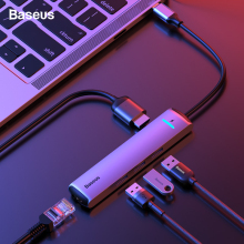 Baseus USB C HUB Type C to HDMI RJ45 Ethernet Multi Ports USB 3.0 USB3.0 PD Power Adapter For MacBook Pro Air Dock USB-C HUB HAB купить недорого в Москве