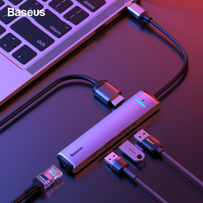 ฮับ USB Baseus C ประเภท C ถึง HDMI RJ45 Ethernet พอร์ตหลายพอร์ต USB 3.0 USB3.0 PD Adapter สำหรับ MacBook pro Air Dock USB C HUB HAB-ใน ฮับ USB จาก คอมพิวเตอร์และออฟฟิศ บน AliExpress - 11.11_สิบเอ็ด สิบเอ็ดวันคนโสด 1