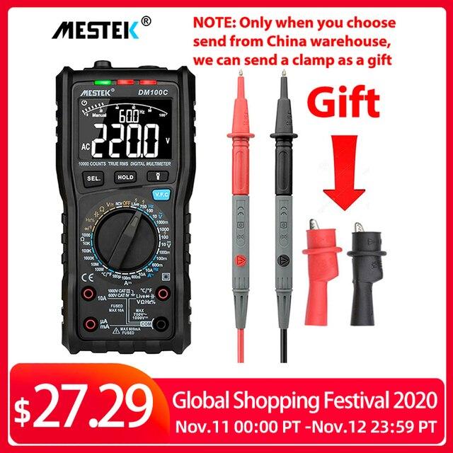 MESTEK multímetro Digital DM100C True RMS, 10000 cuentas con gráfico de barra analógica, amperímetro de voltaje CA/CC, corriente Ohm manual/auto
