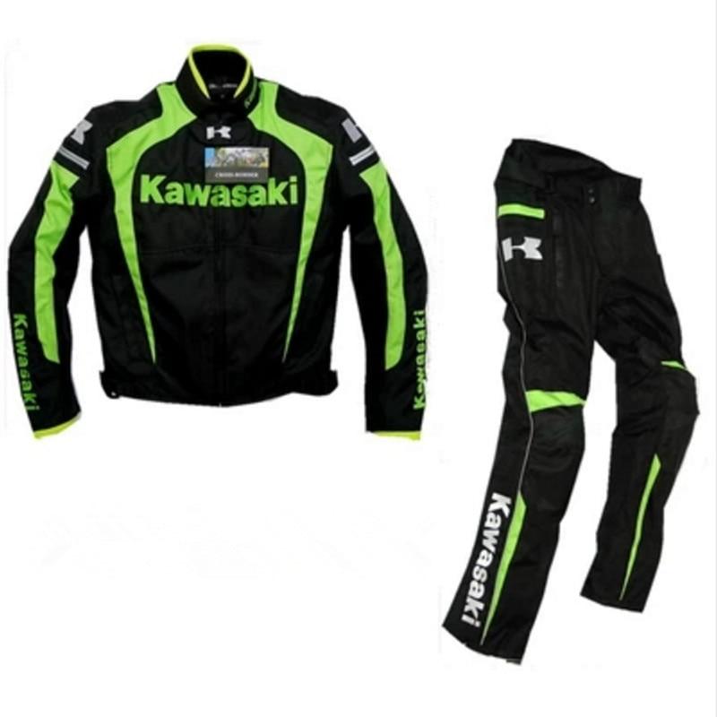 Оптовая продажа, мотоциклетный костюм для kawasaki, костюм команды из ткани Оксфорд, мотоциклетные гоночные куртки + брюки, ветрозащитный Теплы...