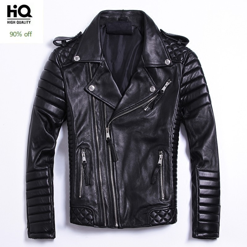 Luxury Black Plus Size Brand Classic Sheepskin Natural Leather Jackets Mens Genuine Leather Jacket Fashion Slim Moto Coats Male