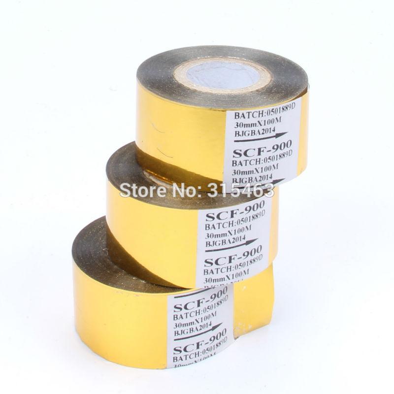 3Rolls Gold White Black 30MMx100M Thermal Transfer Ribbon Hot Stamping Foil Ribbon Printing Belt