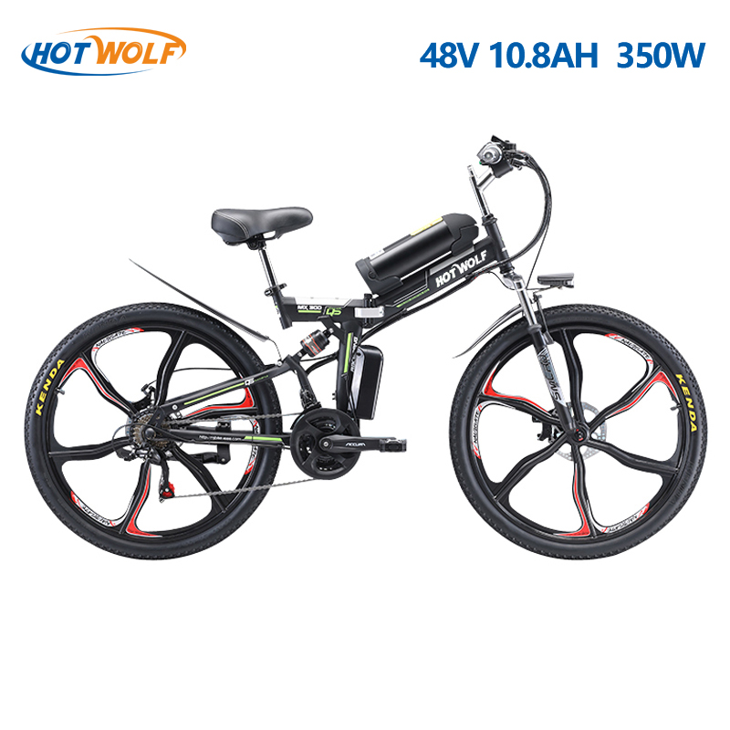 26-дюймовый складной электрический велосипедный мотор 350 Вт Горный велосипед 21-скоростная литиевая батарея 48V10AH Взрослый велосипед Двойной ...