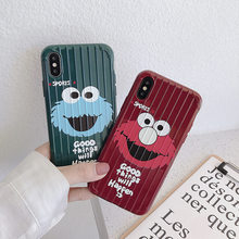 cartoon Sesame Street Antiskid stripe phone case for iphone X XS Max XR 11 Pro 7 8 6 6S Plus back cover(China)