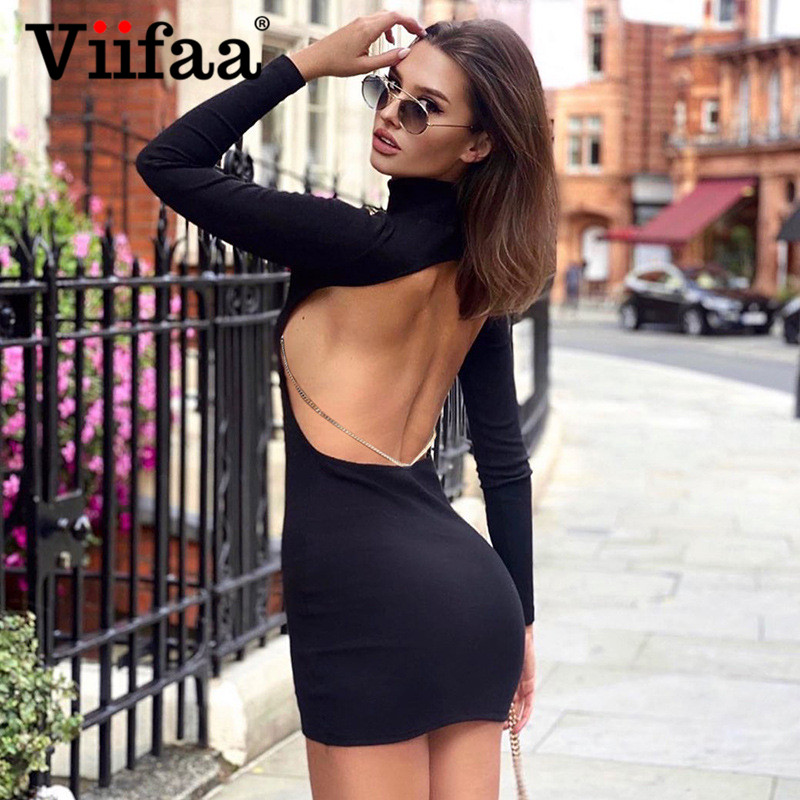 Viifaa Backless Chain Sexy Bodycon Mini Dresses Women Winter Party Night Wear Long Sleeve O Neck Elegant Fitted Dress|Dresses| - AliExpress