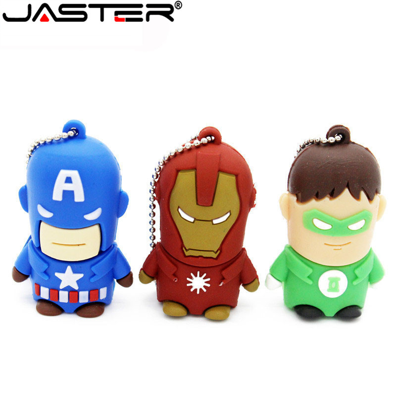 JASTER Super Man USB Flash Drive Spider Man Batman Captain America Pendrive 4gb 8gb 16gb 32gb Memory Stick Pen Drive Gifts