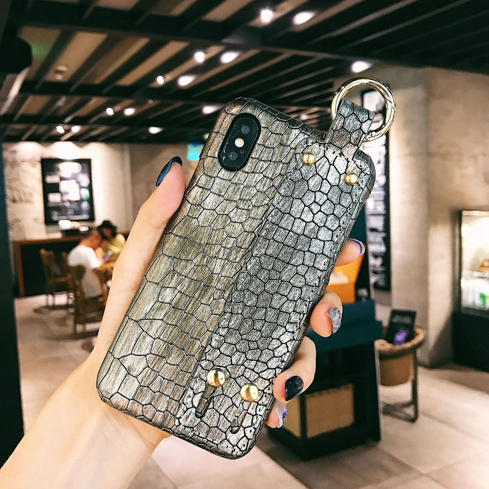 Luxury Hand Holder Case For iPhone 7 8 Plus XR Crocodile Wristband Leather For iPhone XS MAX X Xs 6 6s Business Protection in Half wrapped Cases from Cellphones Telecommunications