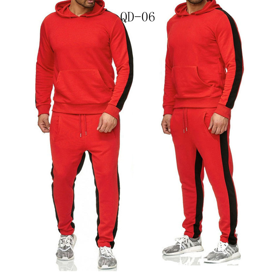 QD-06 Brand Clothing Men's Fashion Patchwork Tracksuit Casual Sportsuit Men Hoodies Sweatshirts Sportswear Coat+Pant Men Set