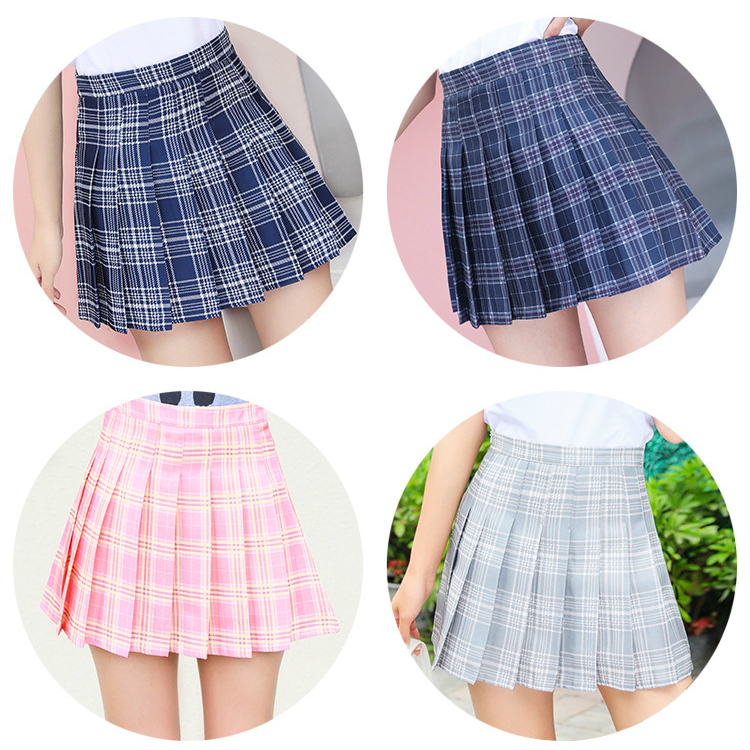 XS-XXL High Waist A-Line Women Skirt Striped Stitching Sailor Pleated Skirt Elastic Waist Sweet Girls Dance Skirt Plaid Skirt 75