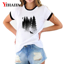 Women 2019 New T Shirts 3D Print Mist Forest Wolf Graphic Tees Harajuku Animal Printed Summer Short Sleeve Casual White Tops 2019 wolf printed 3d t shirts men t shirts new design tops tees men women short sleeve shirt summer harajuku wolf animal xxxxl
