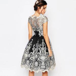 Image 4 - Dangal חתונת אורח שמלת Eveving מסיבת פרח ילדה קצר תחרה Midi שמלה עם רקמת נצנצים