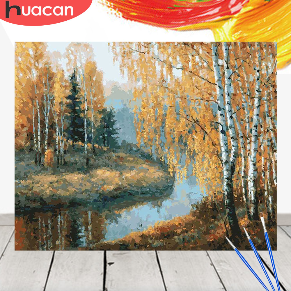 HUACAN Oil Painting By Numbers Fall Scenery Acrylic Drawing Canvas Picture Wall Art DIY Home Decor Gift