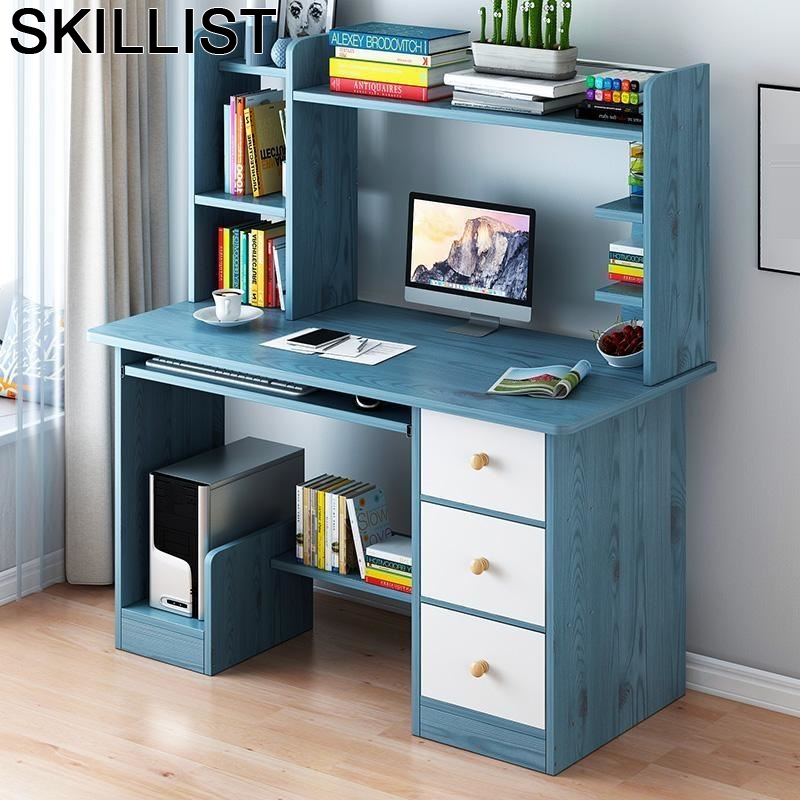 Tafelkleed Support Ordinateur Portable Bureau Meuble Schreibtisch Office Computer Desk Bedside Laptop Stand Table With Bookshelf