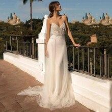 LORIE plaża suknie ślubne Spaghetti pasek syrenka suknia dla panny młodej Backless księżniczka długa suknia ślubna Boho suknia dla panny młodej 2019