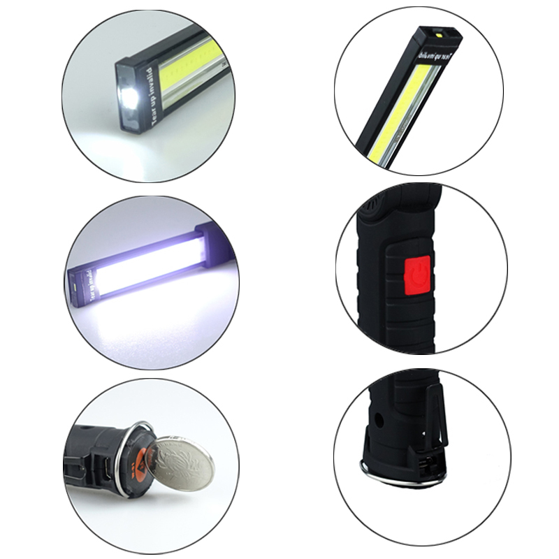 Rechargeable COB LED Work Light Flashlight Folding Torch Lamp 360°Rotate 5 Lighting Modes Magnetic Base Swivel Hook|Bicycle Repair Tools| |  - title=