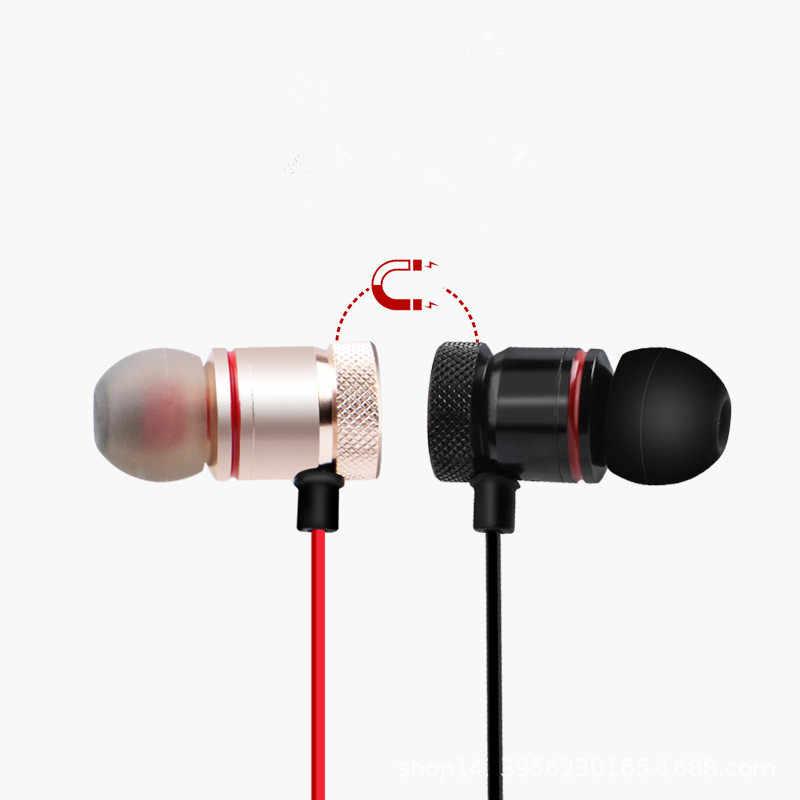 Bezprzewodowe słuchawki Bluetooth metalowe słuchawki Stereo sportowe Bass bezprzewodowy zestaw słuchawkowy słuchawki douszne z mikrofonem słuchawki dla wszystkie telefony