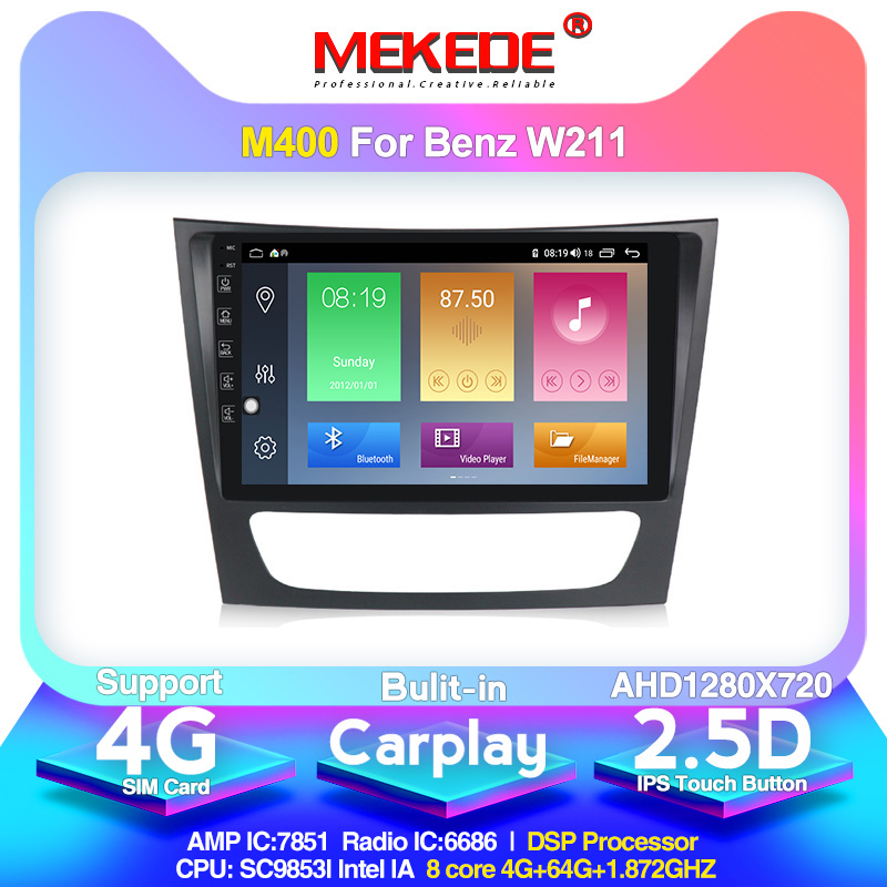 4G LTE android10.0 4G+64G Car Multimedia <font><b>GPS</b></font> Navigation Radio Player for <font><b>Mercedes</b></font> Benz E-Class <font><b>W211</b></font> E200 E220 E240 E270 E280 image