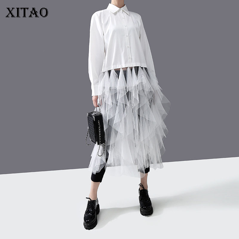 XITAO Fashion Splicing Mesh Women Shirts Trend Personality Womens Tops And Blouses Streetwear Long Sleeve Solid Color XJ3538