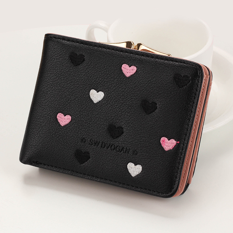 Japanese Multi-function Women's Mini Wallet Candy Color Heart-shaped Embroidery Women Short Wallet Cute Coin Purse Card Package - Цвет: Black