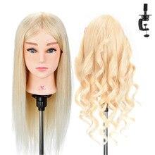 20 ''100% vrais cheveux humains coiffure formation tête pour barbier cheveux blancs friser pratique factice poupée Mannequin tête + cadeau