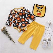 Trick-or-treat Baby Clothes Set Newborn Halloween Costumes Bodysuit+Pant+Bibs Toddler Costume For Boy Girl D35