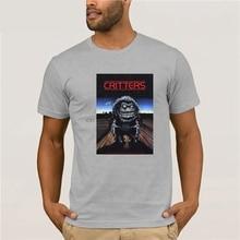 CRITTERS Vintage película de terror póster hombres negro camiseta S-3XL camiseta superior para la venta algodón Natural camisetas Top Tricolor