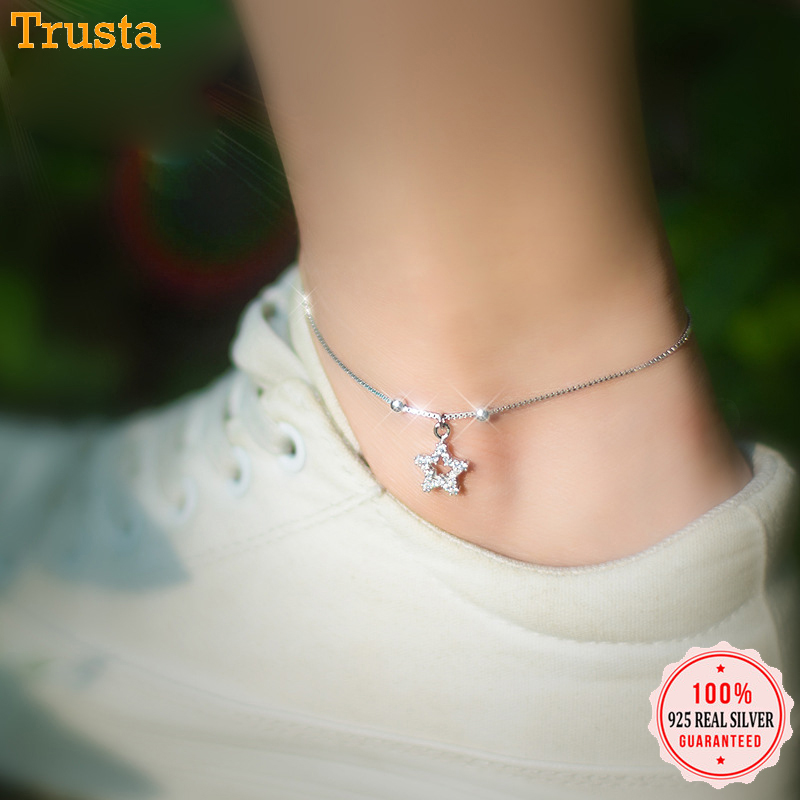 Trustdavis 100% 925 Sterling Silver Fashion Hollow Twinkling CZ Star Anklets For Women Gift Girls Sterling Silver Jewelry DS589