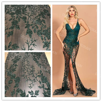 shining glued glitter tulle fabric dark green African French net lace fabric for dress