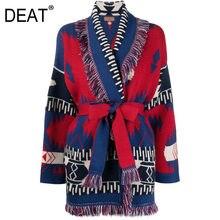 Deatカシミヤニットセーターの女性を印刷スカーフ襟カーディガンルースフルスリーブハイストリート2021新秋ファッションHT661