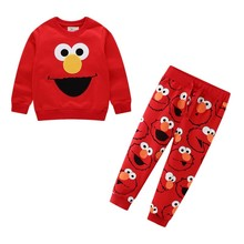Autumn Winter Cartoon Elmo Printed Cotton Sets Baby Boys Clothing Sets Boys Girls Outfit Long Sleeve Shirt Pant
