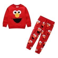 ฤดูใบไม้ร่วงฤดูหนาวการ์ตูน Elmo พิมพ์ฝ้ายชุดเด็กทารกชุดเด็กชุดชุดหญิงยาวแขนเสื้อกางเกง
