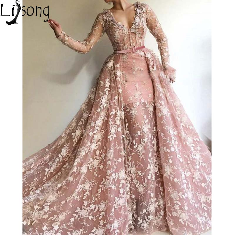 Dusty Pink Overskirts Mermaid Prom Dresses Long Sleeve V Neck Full Appliques Elegant Evening Dress With Detachable Train Gown