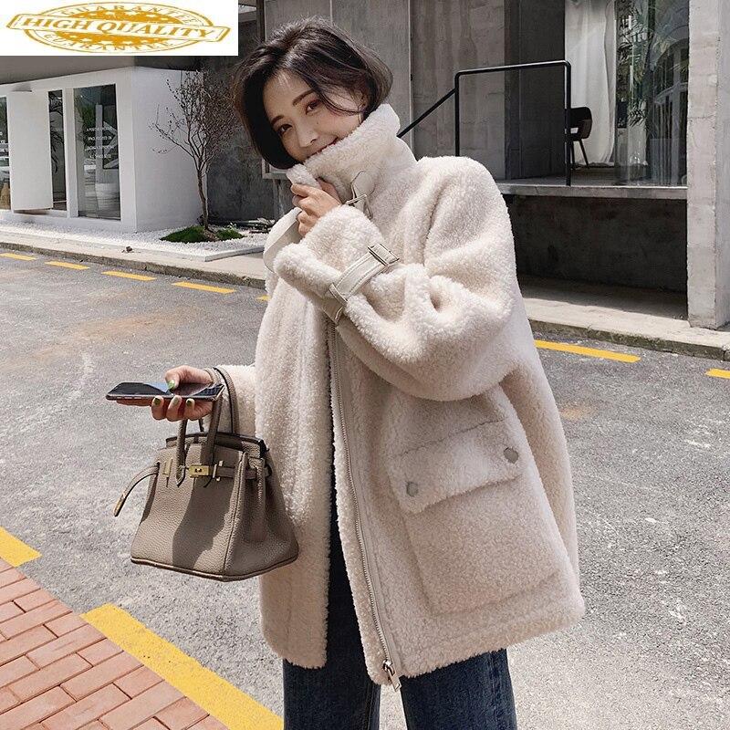 Real Sheep Shearling Fur Coat 2020 Autumn Winter Jacket Women 100% Wool Coats And Jackets Women Outwear Abrigo Mujer MY