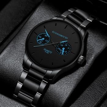 Luxury Quartz Men Watches Blue Pointer Casual Fashion Stainless Steel Strap Clock Gift Business WristWatch Relogio Masculino