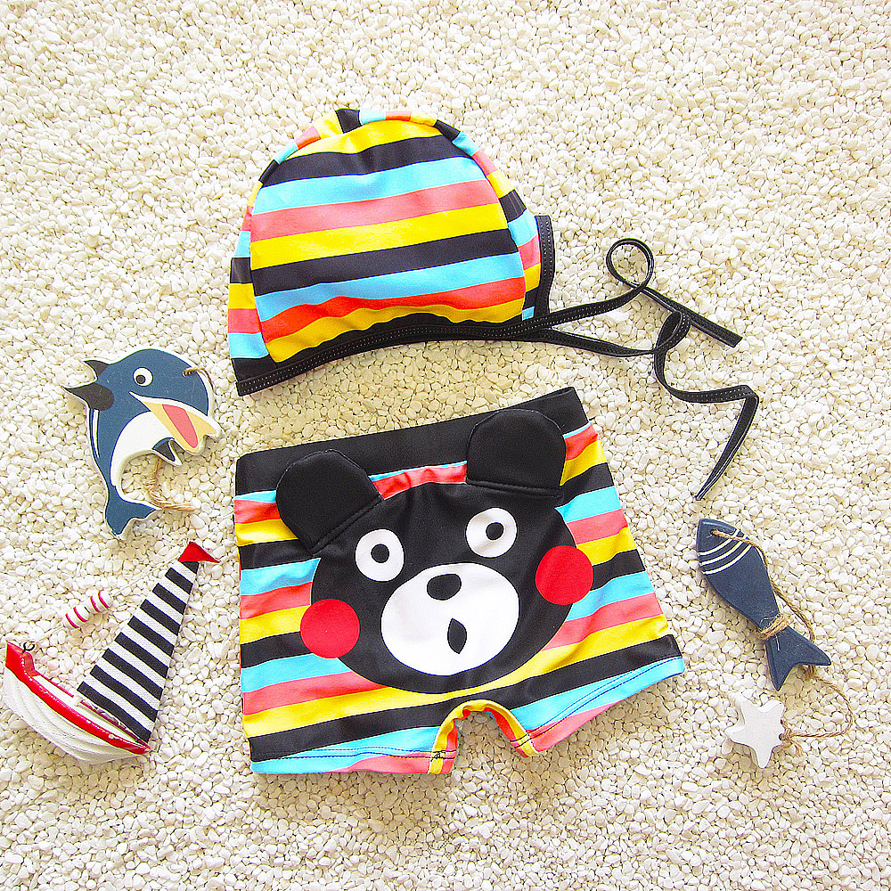South Korea BOY'S Cute Cartoon Hot Springs Bathing Suit Baby Boxer Infants Students Swimming Trunks Set With Hat
