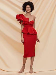 Bandage Dresses Club Backless Vestido Bodycon Ruffles Elegant Off-Shoulder Women Sexy