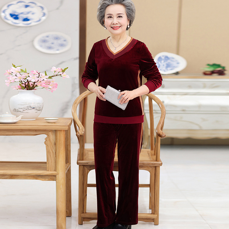 Middle Aged And Elderly People WOMEN'S Suit Autumn New Style Long Sleeve V-neck Shirt Grandma-Gold Velvet Casual Sports Two-Piec