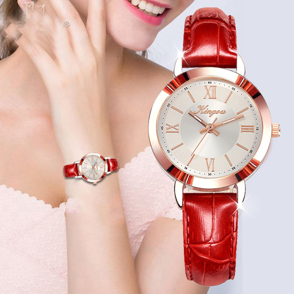 Fashion Simple Women Watches Without Digital Scale Rose Red Shell Belt Quartz Watch Precious Women's Watches Relogio Feminino